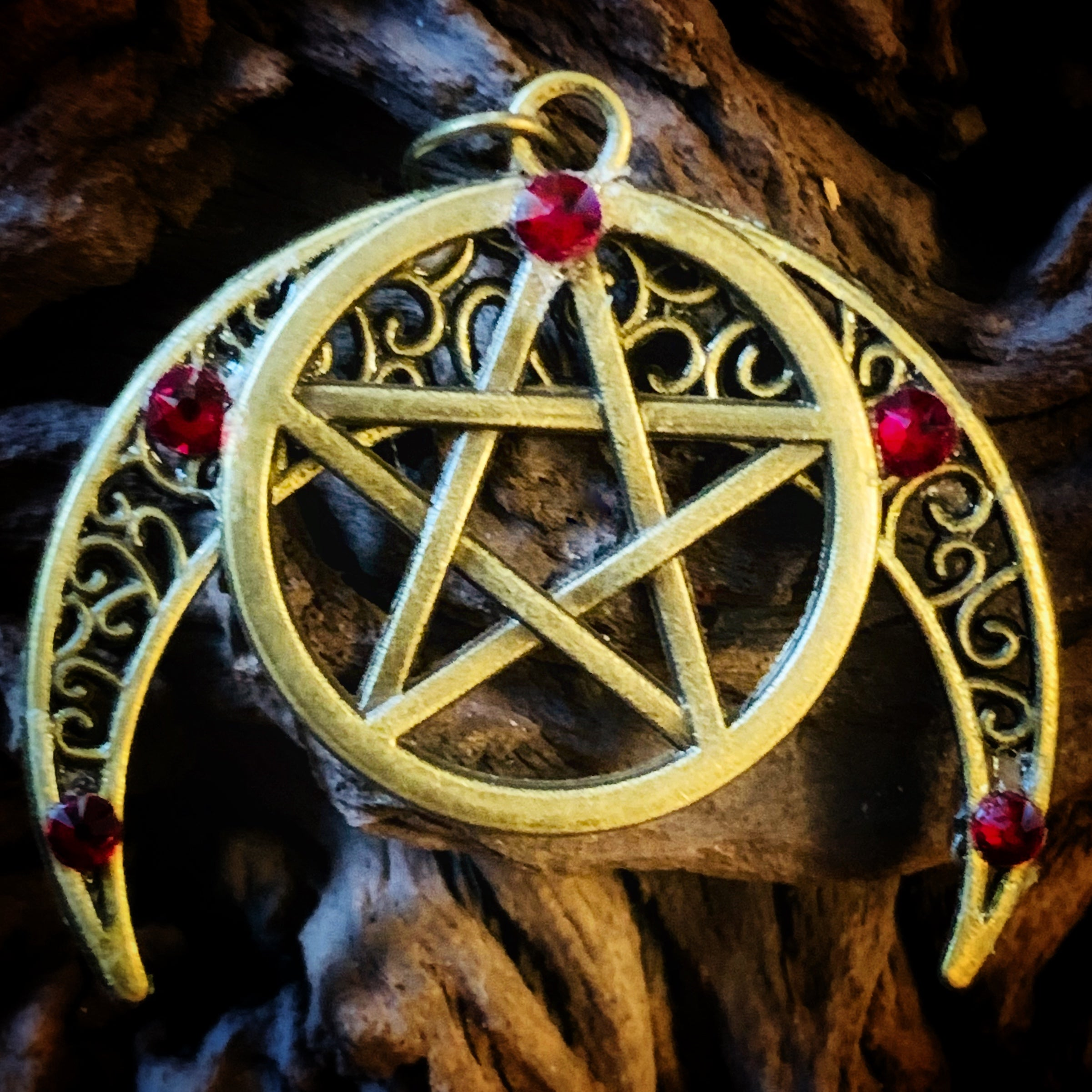 Antique Bronze Pentagram Moon Pendant