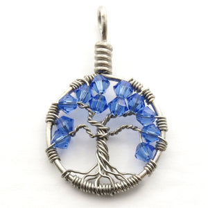 Open image in slideshow, Sapphire Crystal Tree of Life Pendant ~ September Birthstone