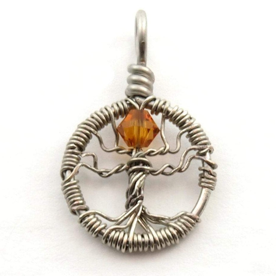 Delicate Topaz Crystal Tree of Life Pendant ~ November Birthstone