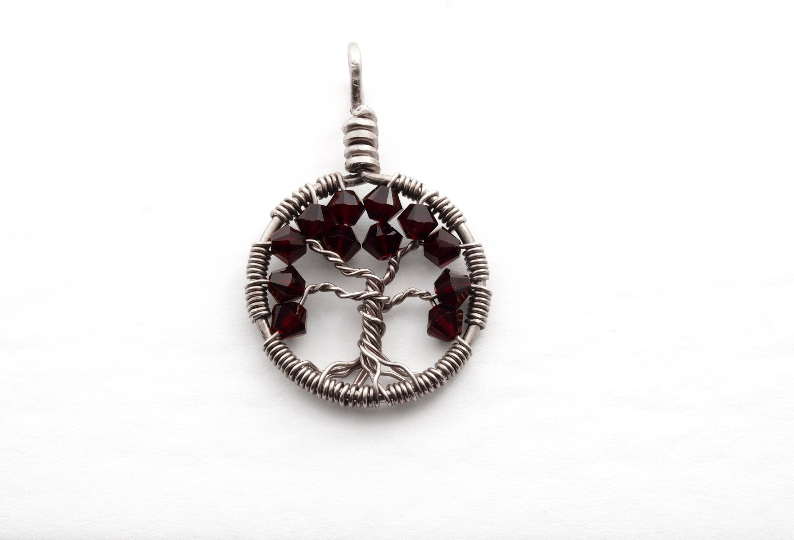 Garnet Crystal Tree of Life Pendant ~ January Birthstone