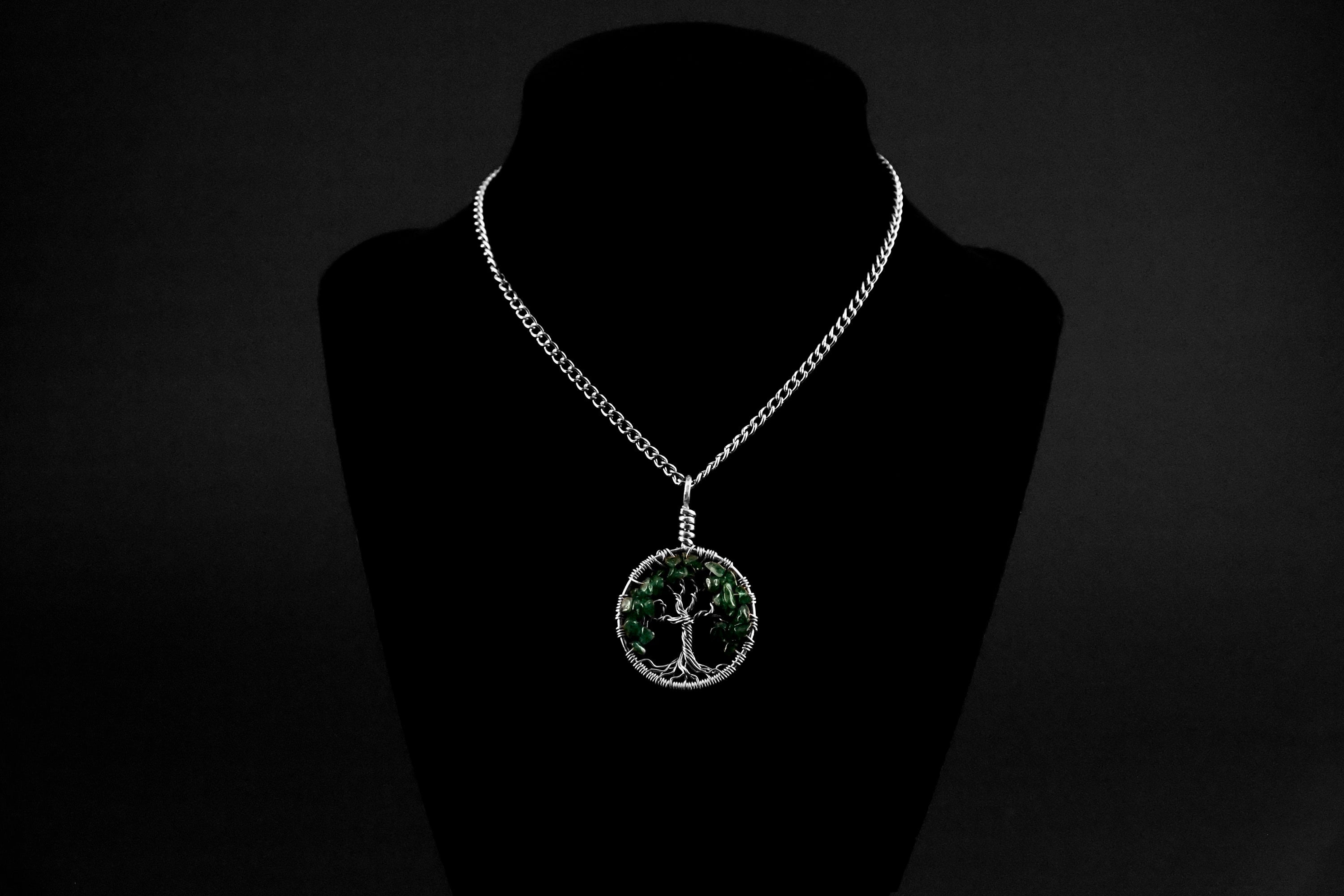 Green Aventurine Tree of Life Pendant ~ May Birthstone