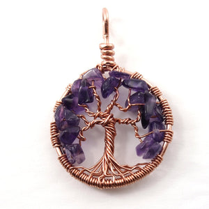 Open image in slideshow, Amethyst Tree of Life Pendant ~ February Birthstone