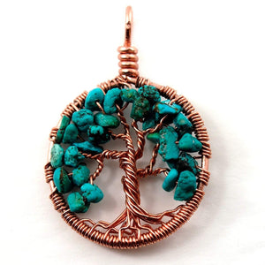 Open image in slideshow, Turquoise Tree of Life Pendant ~ December Birthstone