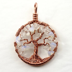 Open image in slideshow, Opalite Tree of Life Pendant ~ October Birthstone