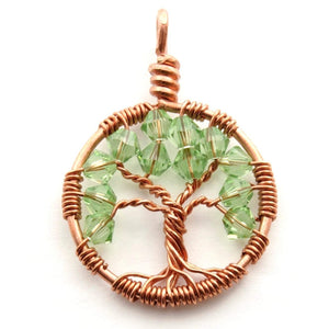 Open image in slideshow, Peridot Crystal Tree of Life Pendant ~ August Birthstone
