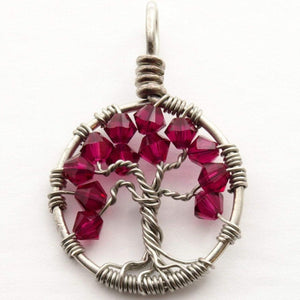 Open image in slideshow, Ruby Crystal Tree of Life Pendant ~ July Birthstone