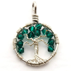 Open image in slideshow, Emerald Crystal Tree of Life Pendant ~ May Birthstone