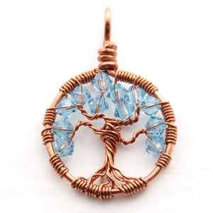 Open image in slideshow, Aquamarine Crystal Tree of Life Pendant ~ March Birthstone
