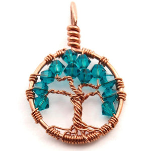 Open image in slideshow, Blue Zircon Crystal Tree of Life Pendant ~ December Birthstone