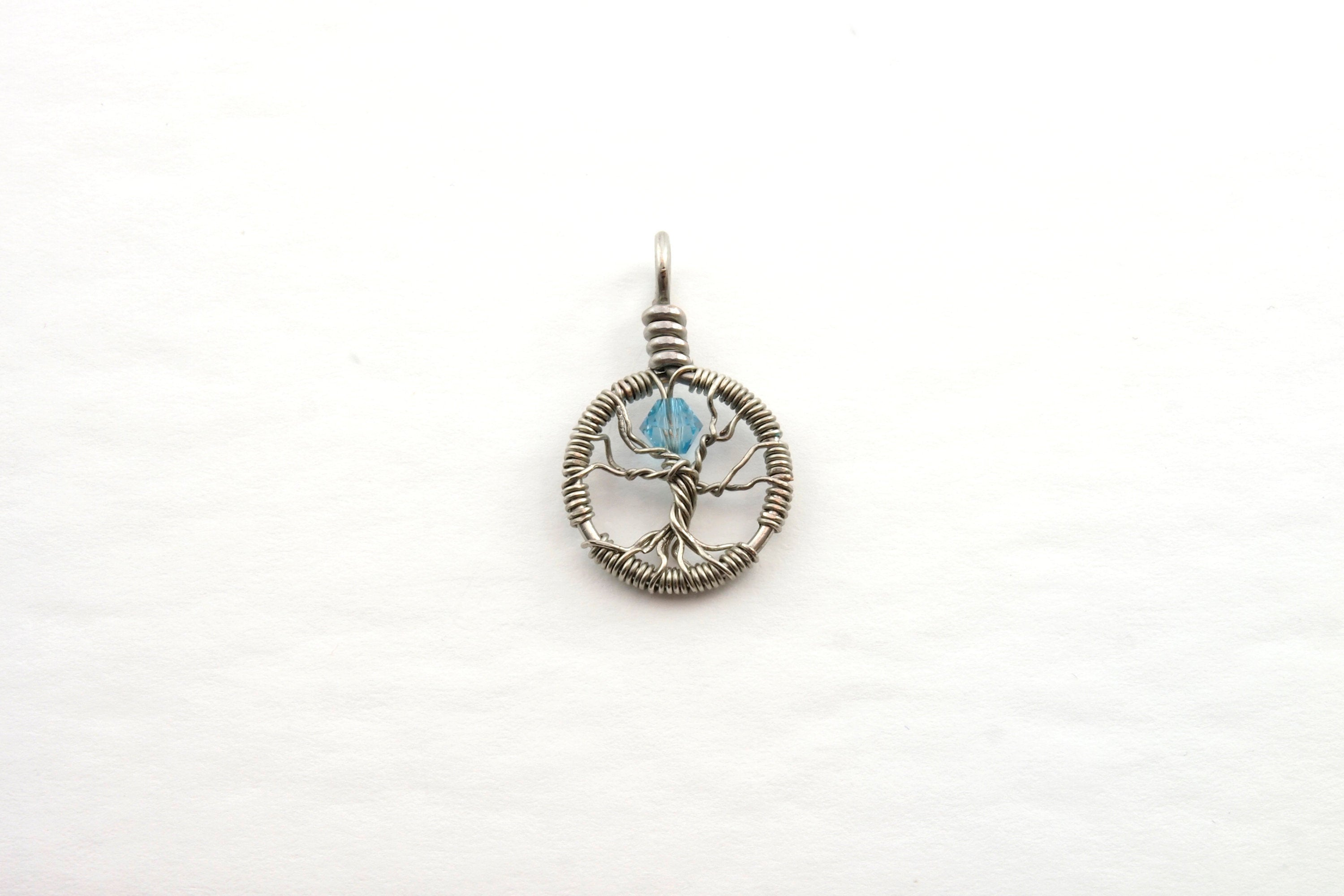 Delicate Aquamarine Crystal Tree of Life Pendant ~ March Birthstone
