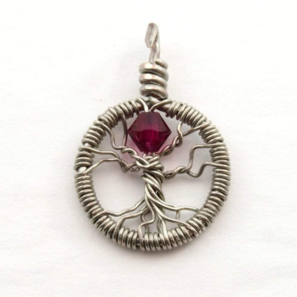 Delicate Ruby Crystal Tree of Life Pendant ~ July Birthstone
