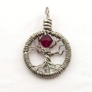 Open image in slideshow, Delicate Ruby Crystal Tree of Life Pendant ~ July Birthstone