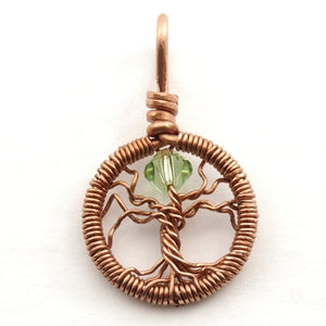 Open image in slideshow, Delicate Peridot Crystal Tree of Life Pendant ~ August Birthstone