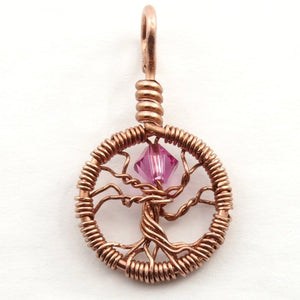 Open image in slideshow, Delicate Rose Crystal Tree of Life Pendant ~ October Birthstone