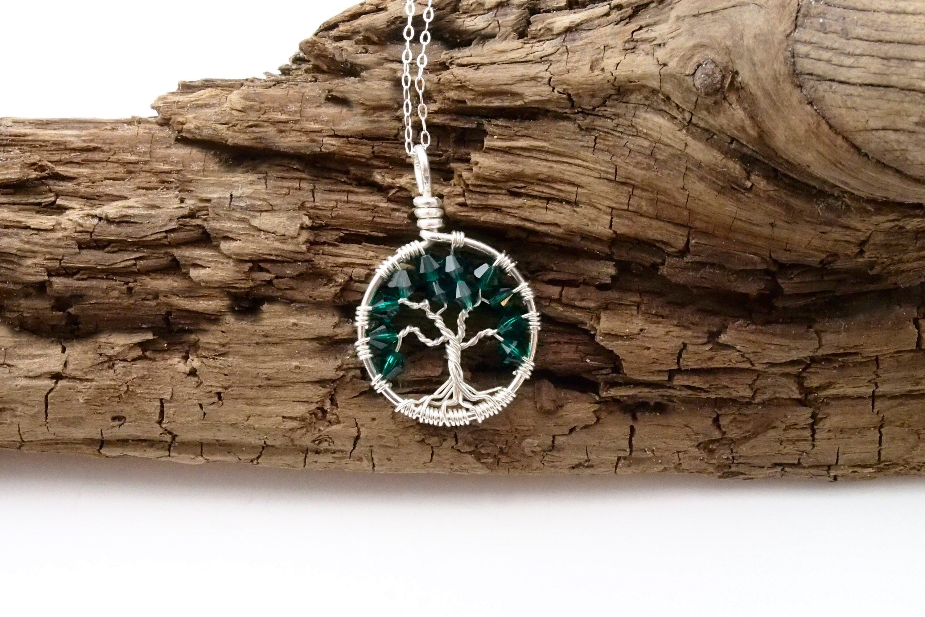 Emerald Crystal Tree of Life Pendant ~ May Birthstone