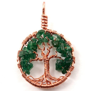 Open image in slideshow, Green Aventurine Tree of Life Pendant ~ May Birthstone