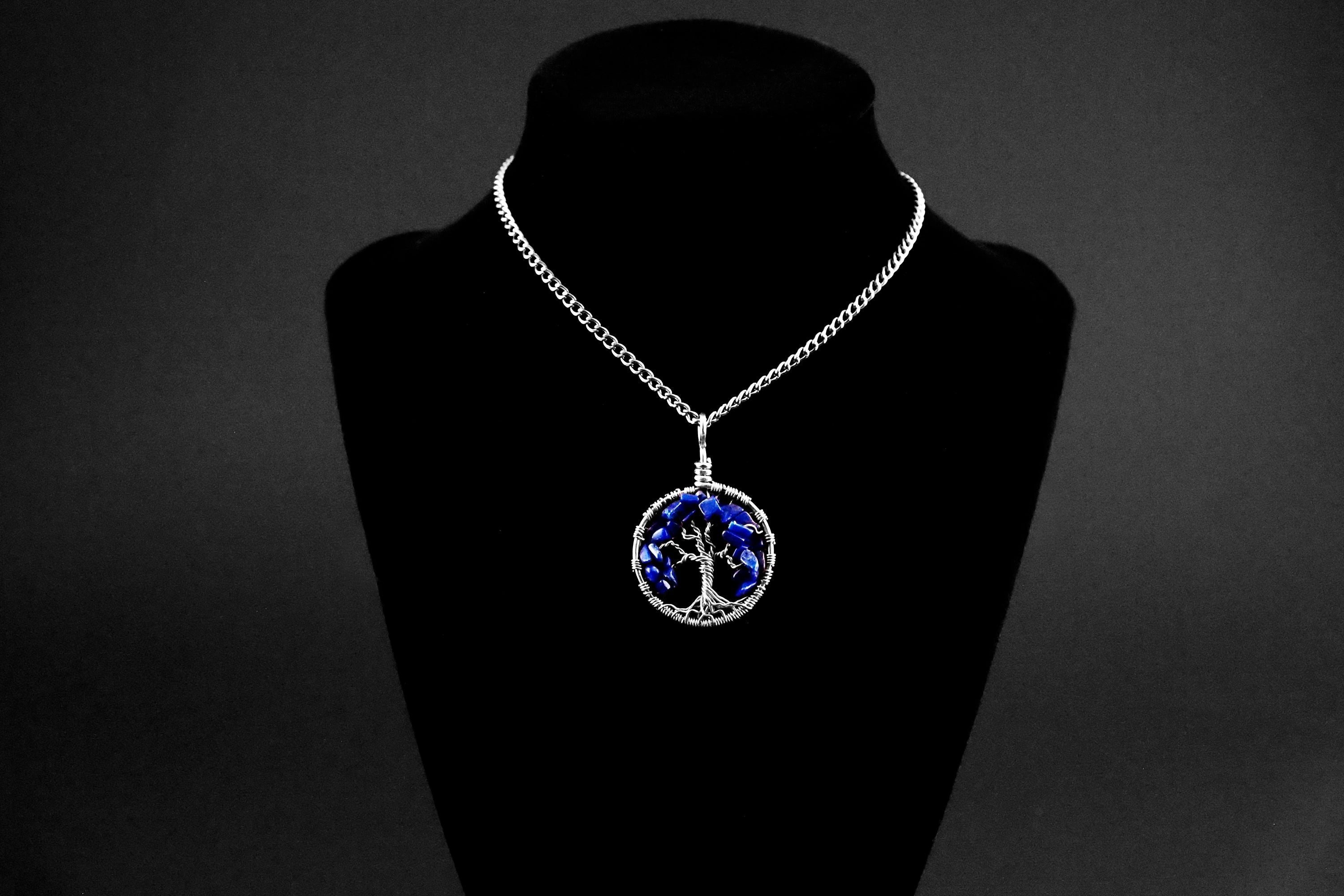 Lapis Tree of Life Pendant ~ September Birthstone