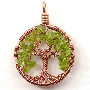 Open image in slideshow, Peridot Tree of Life Pendant ~ August Birthstone