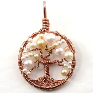 Open image in slideshow, Pearl Tree of Life Pendant ~ June Birthstone