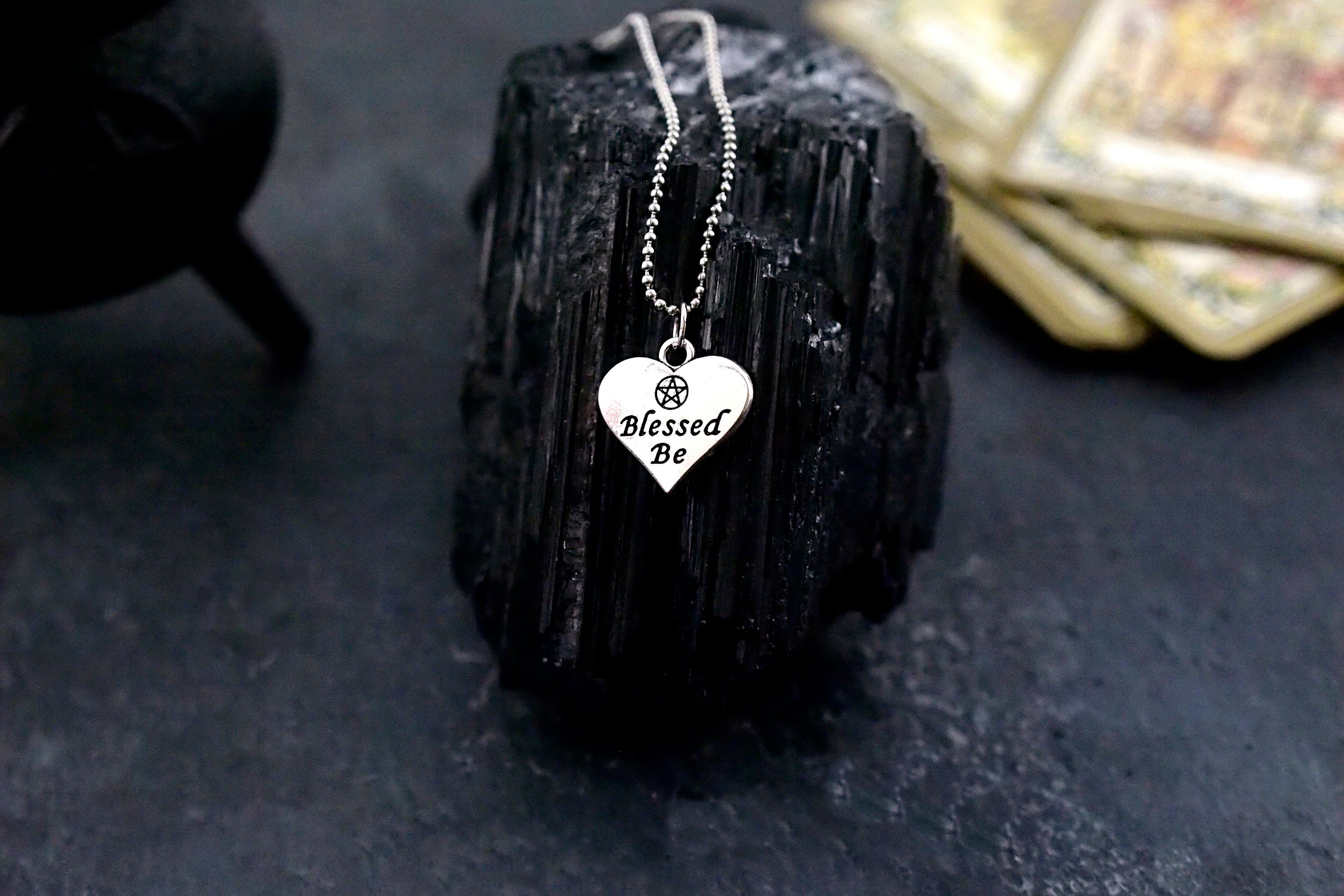 Blessed Be ~ Heart Shaped Pentacle Amulet