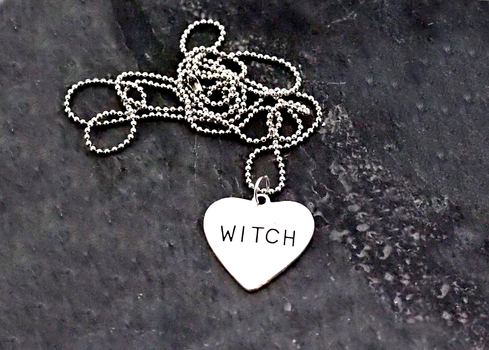 Witch Charm Necklace ~ Heart Amulet