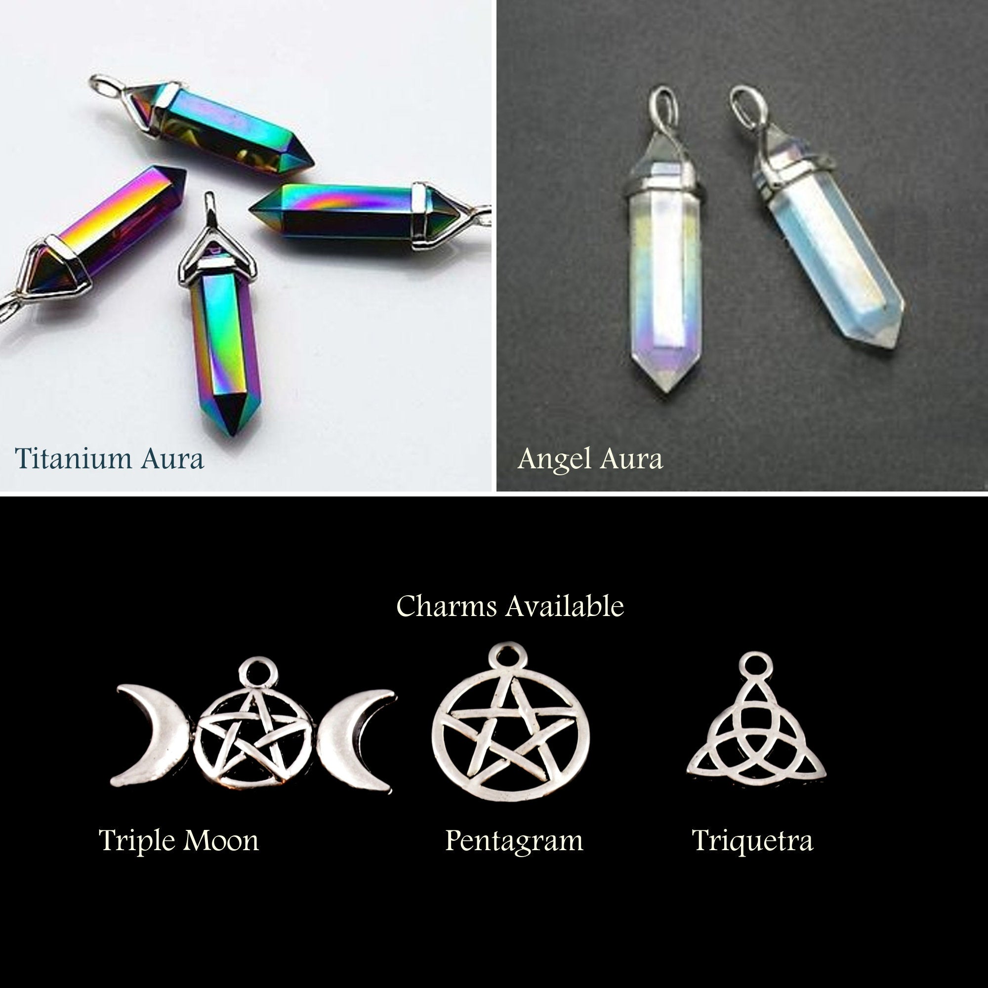 Triple Moon / Triple Goddess Stone Point Talisman