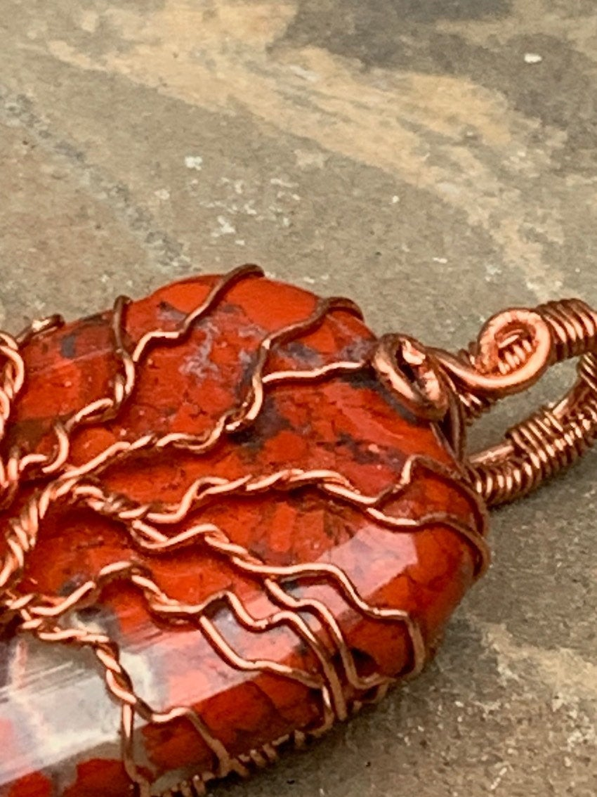Poppy Jasper Tree of Life Pendant in Copper