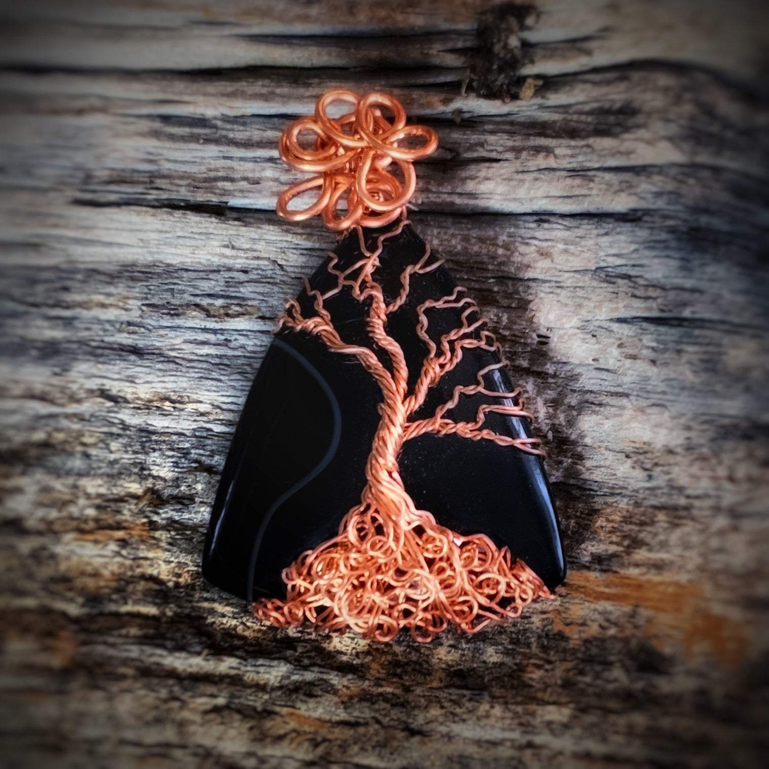 Onyx Tree of Life Pendant in Copper