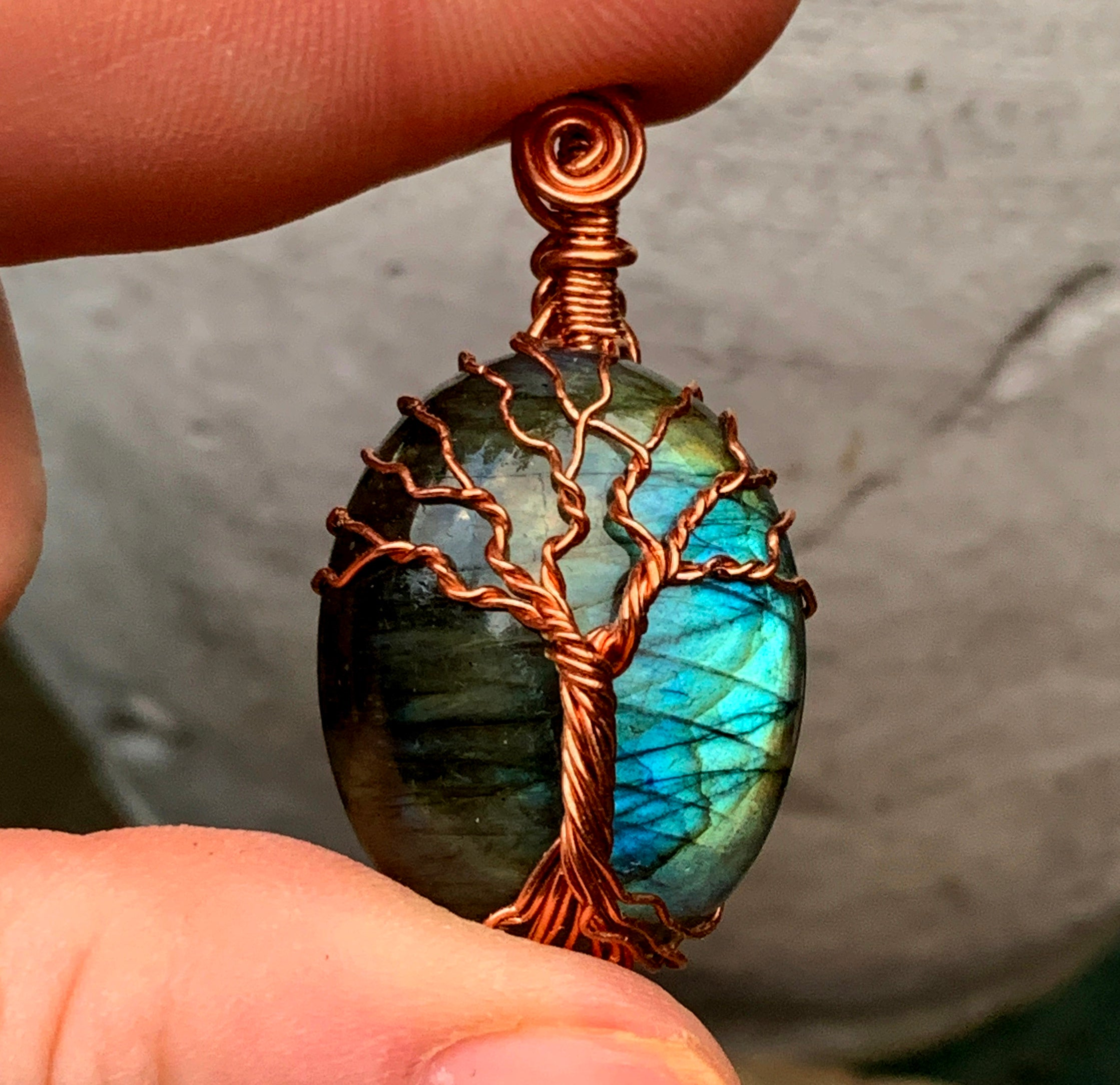 Labradorite Tree of Life Pendant in Copper