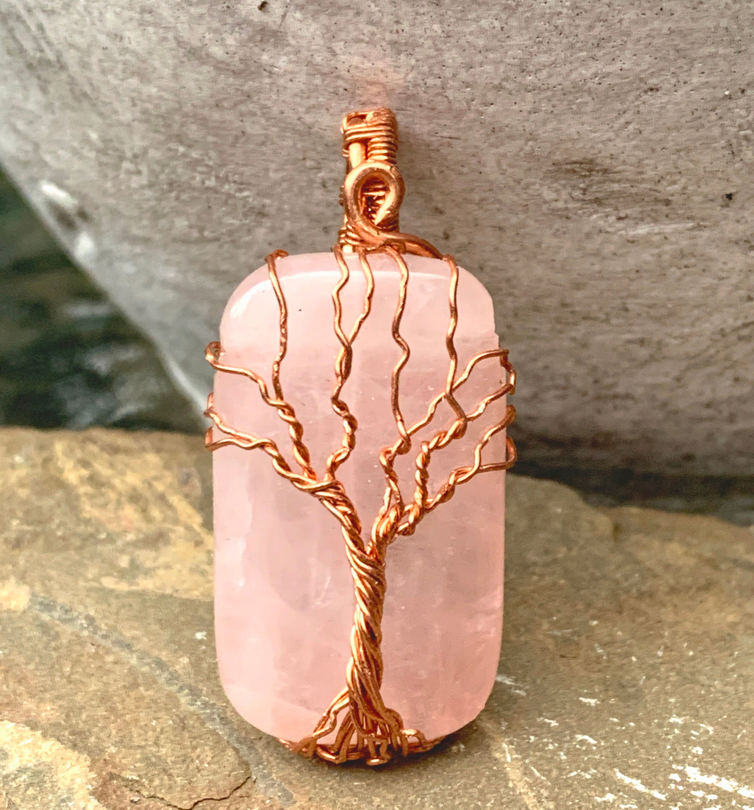 Rose Quartz Tree of Life Pendant in Copper