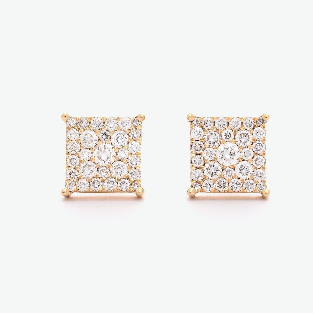 Duchess Illusion Diamond Earrings - Yellow Gold