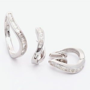 Serene Wave Diamond Earrings - White Gold