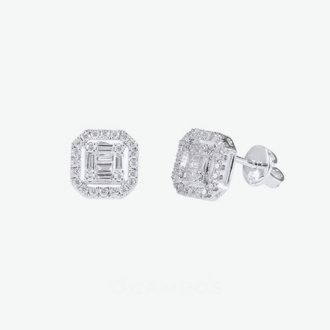 Princess Baguette Cut  Diamond Earrings - White Gold