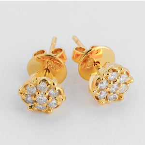 Rosa Diamond Earrings - Yellow Gold