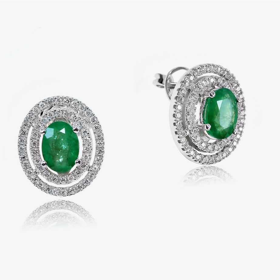 Emerald Celeste Earrings - White Gold