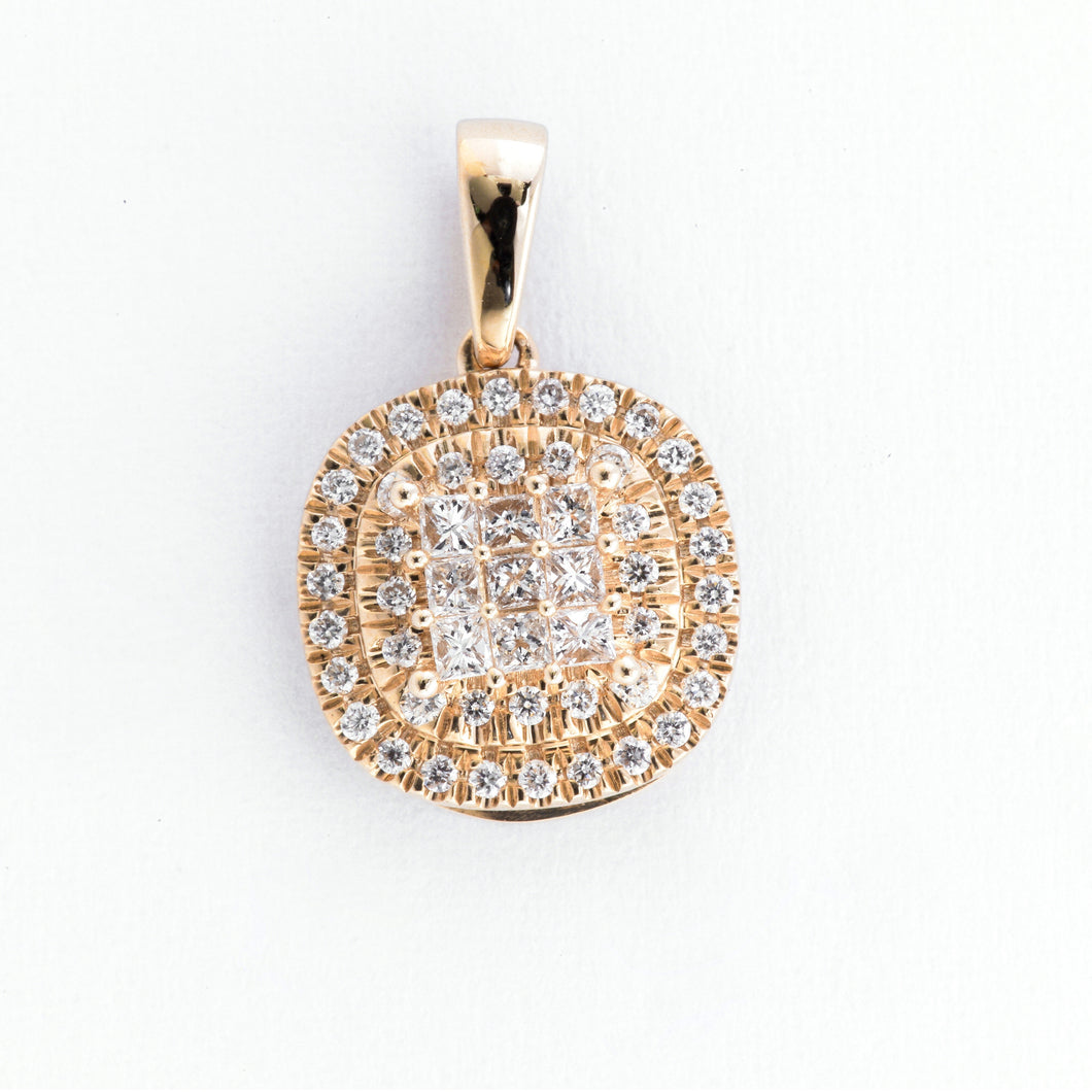 Princess Illusion Diamond Pendant - Yellow Gold