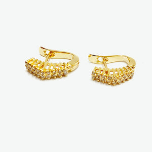 Cleo Pyramid Diamond Earrings - Yellow Gold