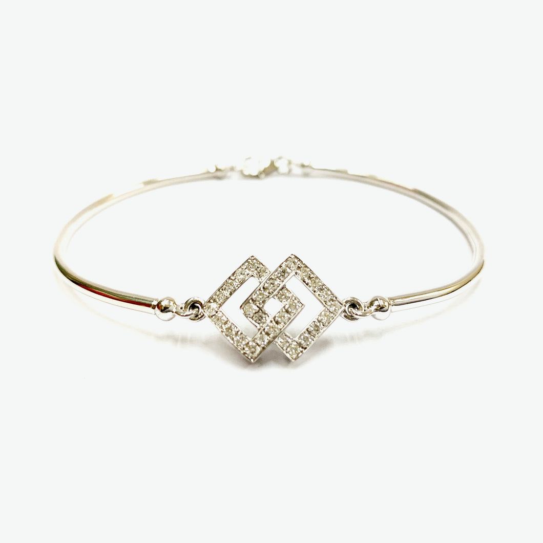 Audrey Diamond Bangle - White Gold