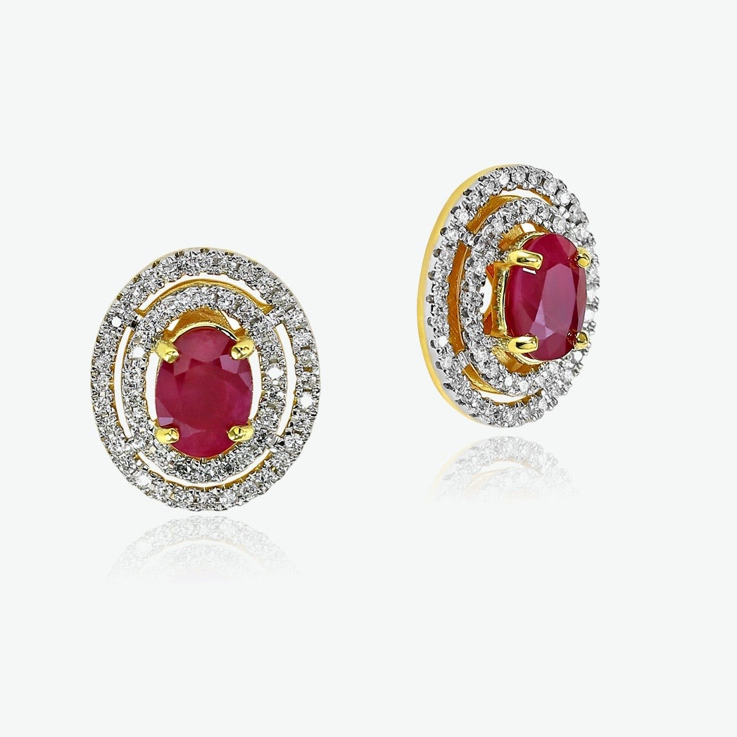 Ruby Celeste Earrings - Yellow Gold