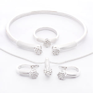 Dahlia Diamond Bangle - White Gold