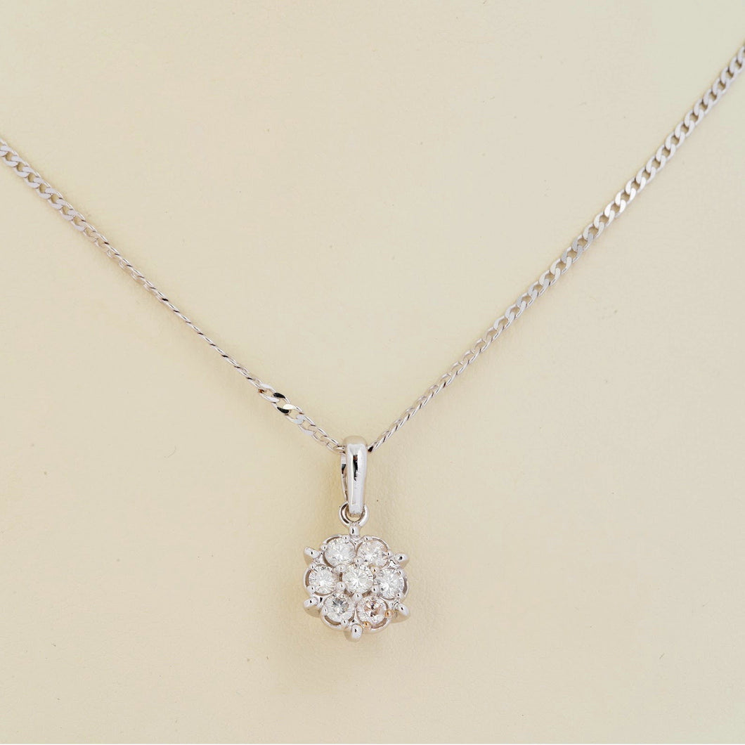 Rosa Diamond Pendant - White Gold