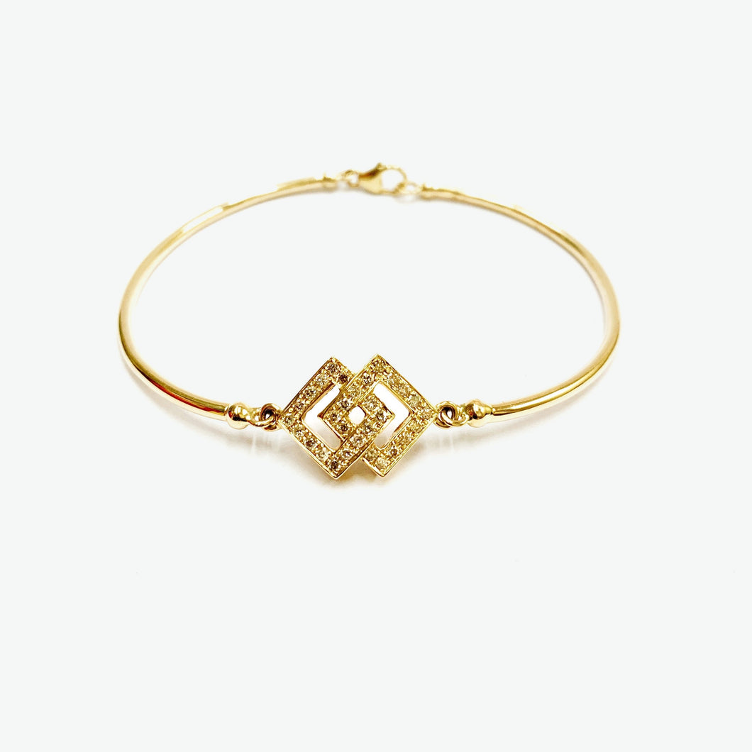 Audrey Diamond Bangle - Yellow Gold