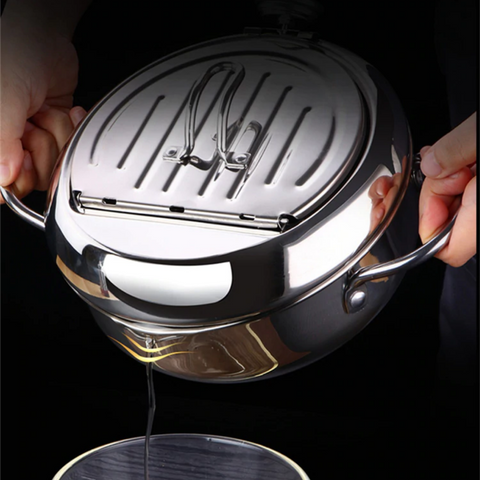 frying pot, deep fryer, japanese cookware, stainless steel deep fryer, tempura fryer, deep frying pot