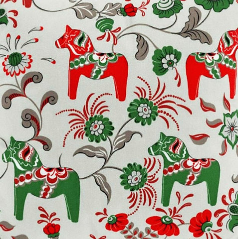 Fabric 2.	 Beige Background with Red and Green colored Mini Dala Häst
