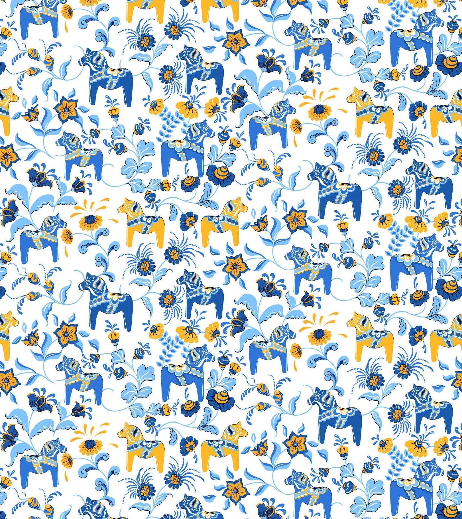 Fabric 4. White Background with Blue and Gold Mini Dala Häst