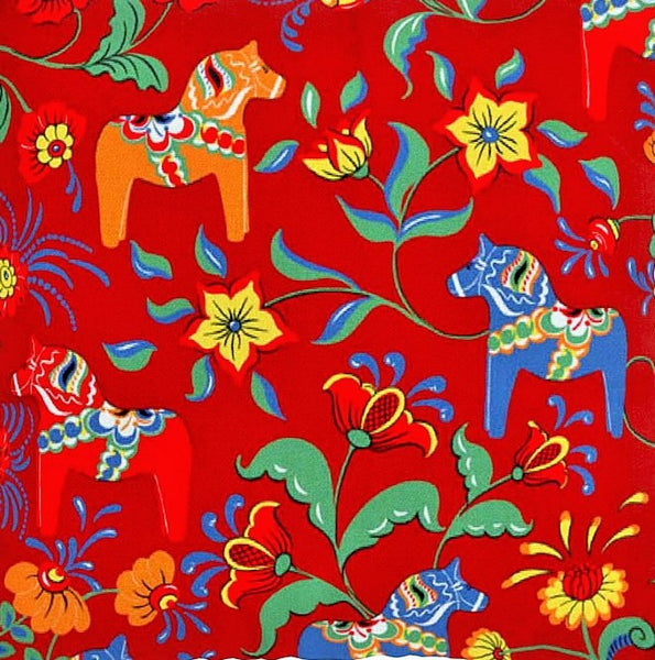 Fabric 6. Red Background with Red, Blue and Orange Large Dala Häst Print