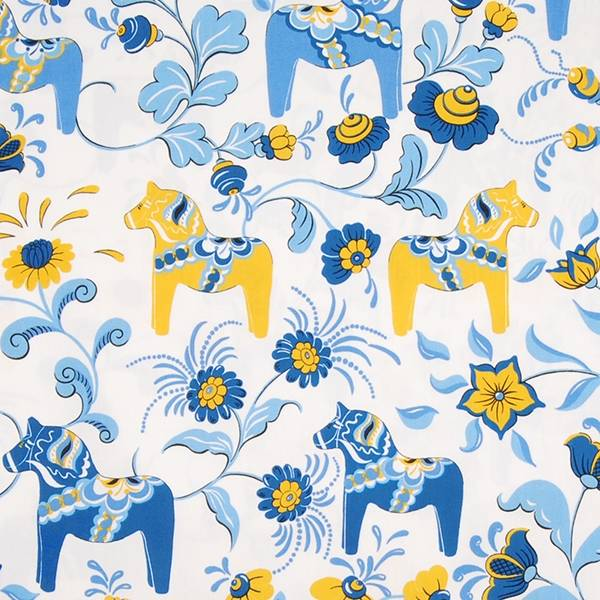 Fabric 7. White Background with Blue and Gold LARGE Dala Häst Print