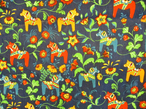 Fabric 8.  Blue Background with Red, Blue and Gold LARGE Dala Häst Print