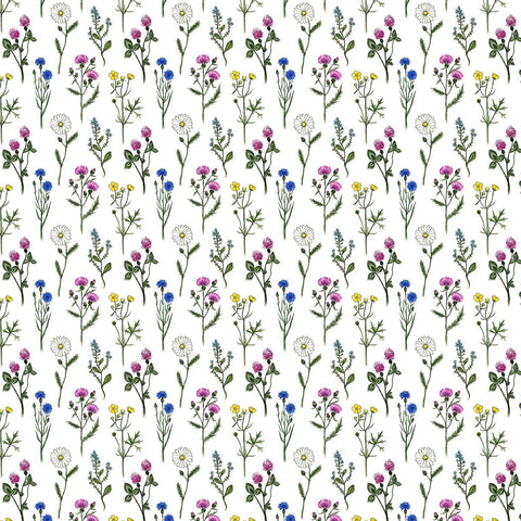 Fabric 9. Midsummer - White background with multi-colored flowers