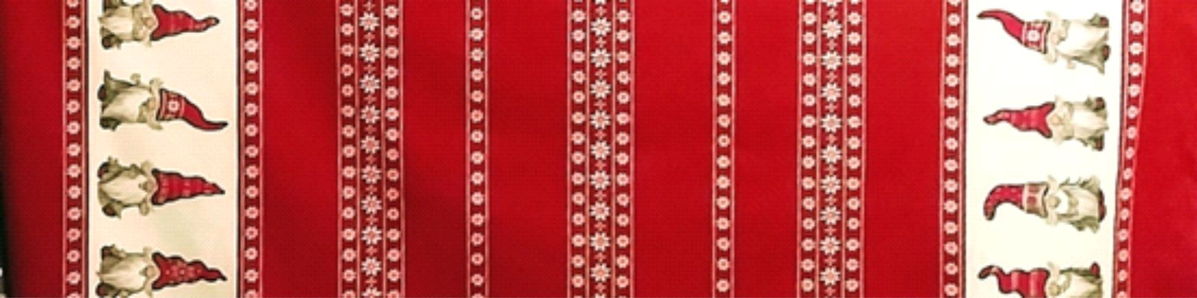 Fabric 17.  Table Cloth - Red with Tomte and Flower Border